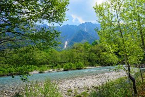 Kamikochi with pockets of snow