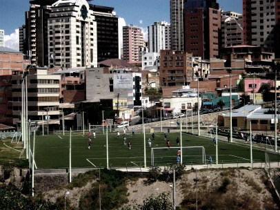 Football players in the middle of La Paz, the capital city of Bolivia