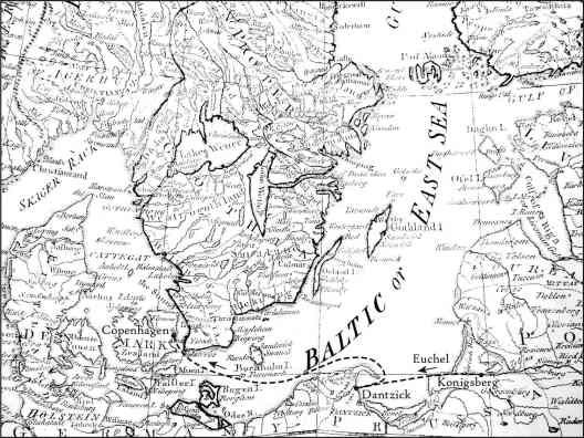 Euchel's route from Königsberg to Copenhagen by way of Gdansk (Dantzick), 1785, based on Samuel Dunn, The Northern States, in A New Atlas of the Mundane System (London: Sayer, 1788), plate 10, detail, with Euchel's approximate route added by Joseph Stoll, Syracuse University Cartographic Laboratory, in collaboration with Ken Frieden