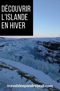 photo pour Pinterest avec la cascade Gullfoss en islande en hiver.