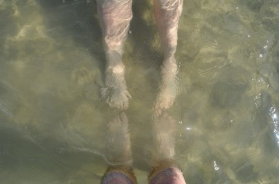 In the water, feet, Sea