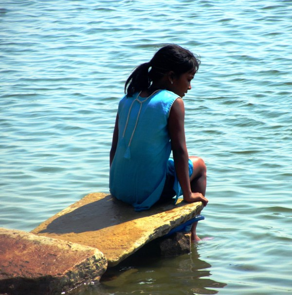 young girl at river