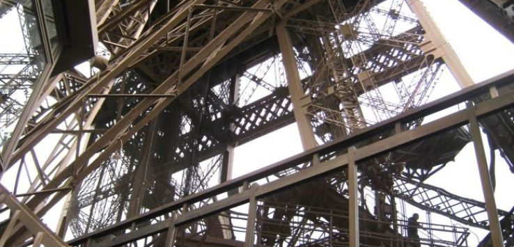 Looking up from second level of Eiffel Tower