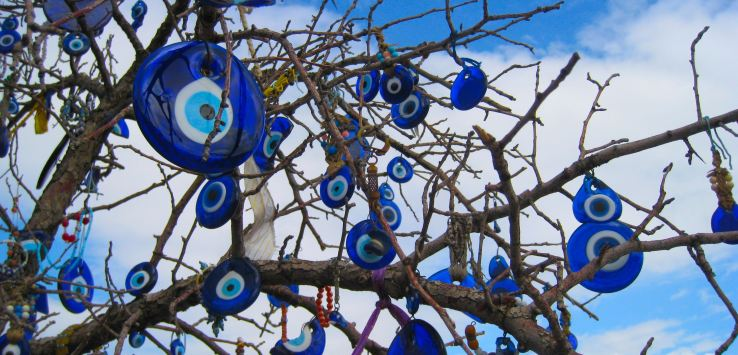 "In Turkey, people use ""evil eye"" ornaments to protect themselves against harm. (Photo by Suzanne Ball. All rights reserved.)"