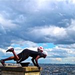 Street performers-Paris-Soccer Ball Guy does a push-up