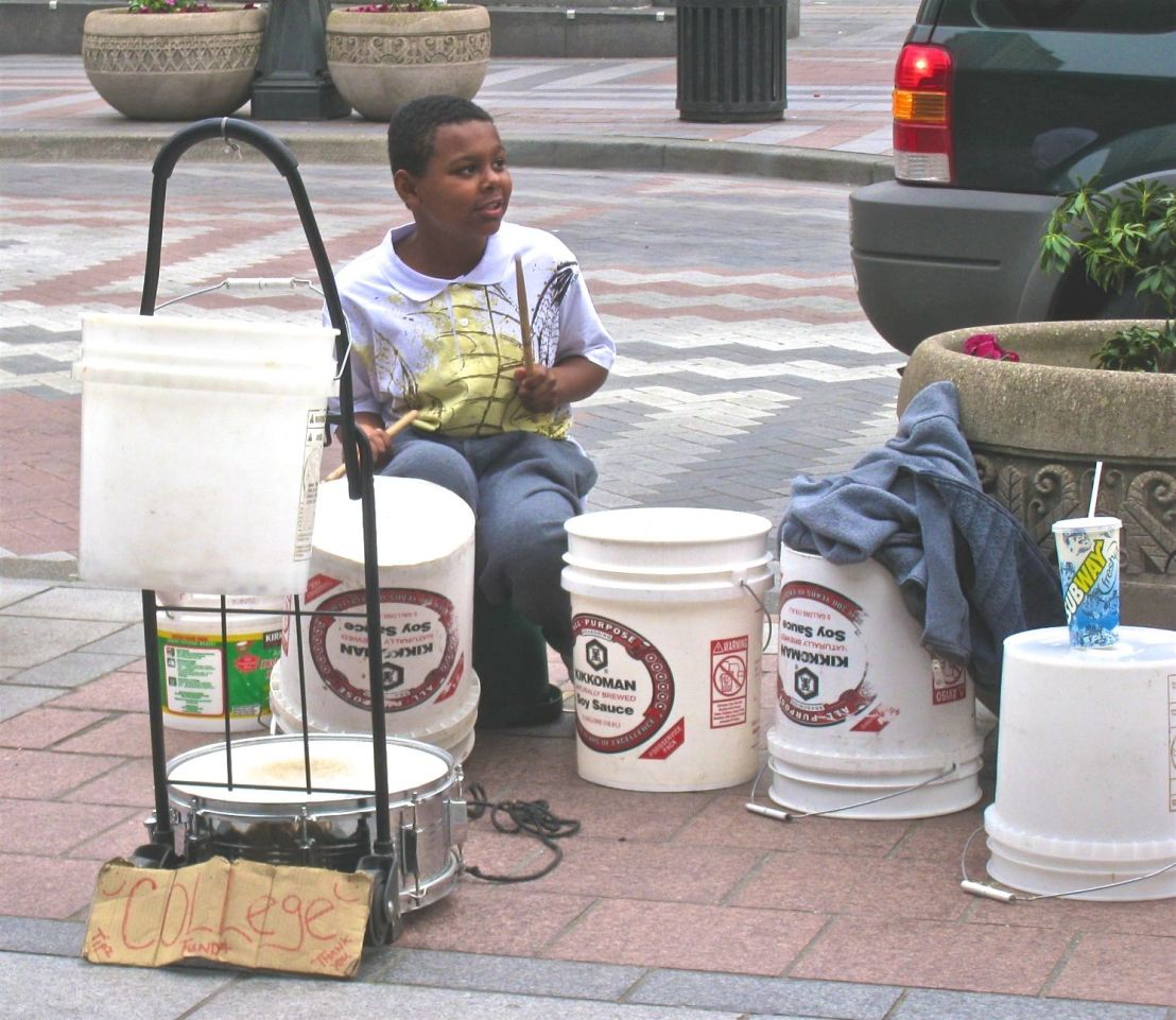 Street Performers-Seattle-Boy with plastic tubs