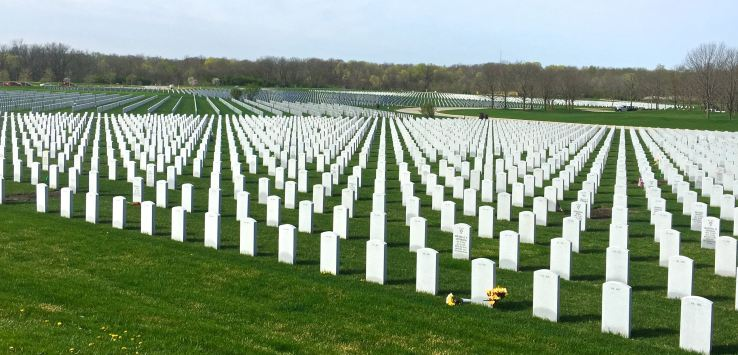 National Cemetery-Rows of headstones