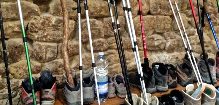 Camino-boots and poles