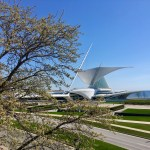 Milwaukee Art Museum: The view from O'Donnell Park, across the street, shows off the Burke Brise Soleil when the structure is open. (Photo credit: Suzanne Ball. All rights reserved.)