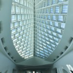 "Milwaukee Art Museum: One of the purposes of the ""wings"" is to regulate light in the main entry. (Photo credit: Suzanne Ball. All rights reserved.)"