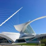 "Milwaukee Art Museum: With ""wings"" open, MOM soars. The Reiman Bridge supports the weight of the building with cables. (Photo credit: Suzanne Ball. All rights reserved.)"