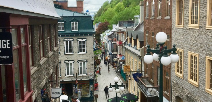 Quebec City: Looking from the Upper Town to Rue du Petit-Champlain, the city's oldest street. (Photo by Suzanne Ball. All rights reserved.)