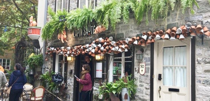 Quebec City: Who can pass up this restaurant? Lapin Saute (Jumping Rabbit) has French charm, at Canadian prices. (Photo by Suzanne Ball. All rights reserved.)