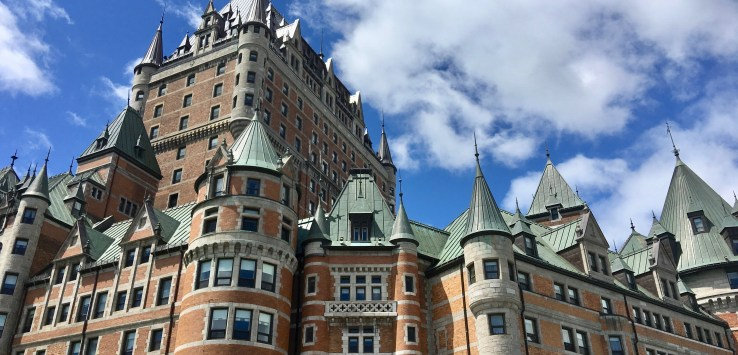 Quebec City: The city icon is magnificent Chateau Frontenac. Even if you don't stay here, step inside and gape at its splendor. (Photo by Suzanne Ball. All rights reserved.)