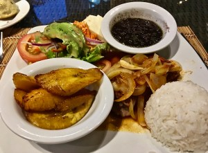 The casado is an inexpensive meal with beans, rice, meat or fish. Plantains and salad are common additions.