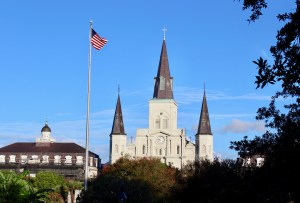 Mornings in NOLA: The sun from the east provides perfect lighting for photos of Jackson Square. (Photo by Suzanne Ball. All rights reserved.)