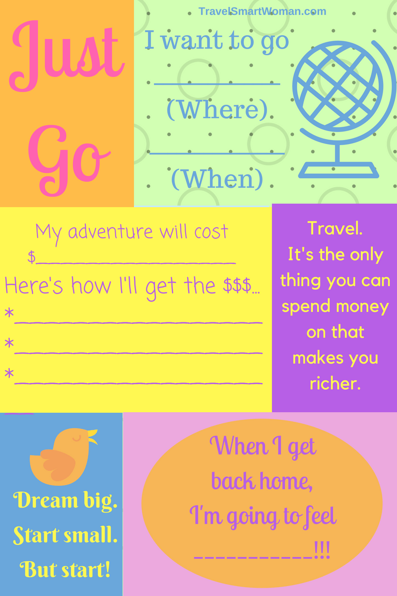 Use this Travel Plan Graphic to get you where you want to go. It doesn't have to be complicated at the outset. A few decisions to get your adventure started, then filling in the blanks.