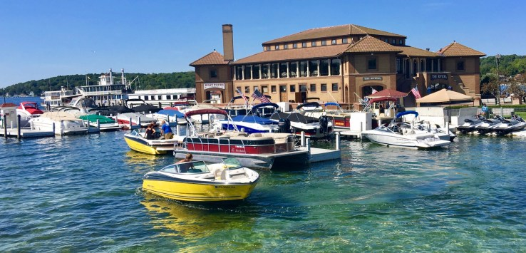 Lake Geneva is a resort town on the Illinois-Wisonsin border.