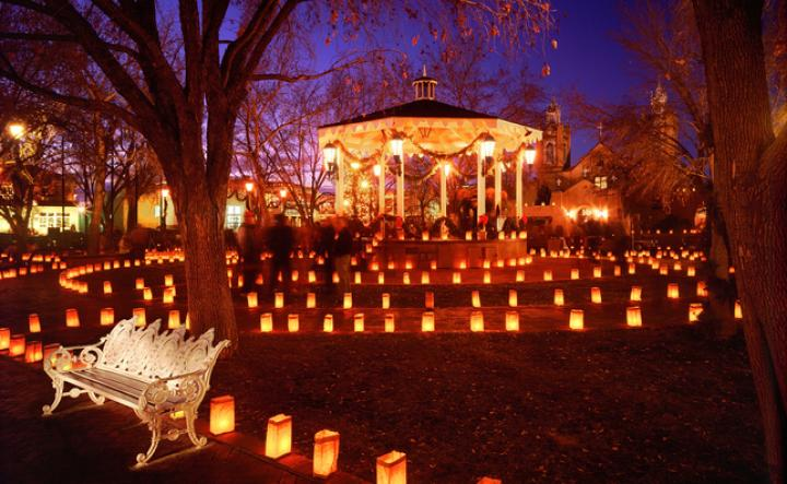 Luminarias in Albuquerque's Old Town Plaza...enchanting! Drive around neighborhoods to see more elaborate displays.
