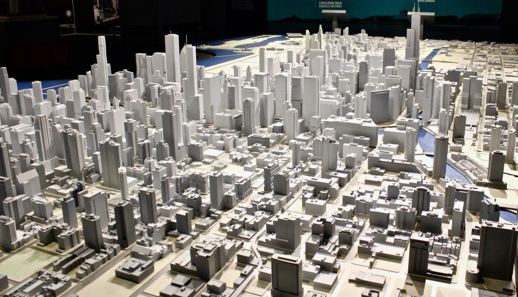 Chicago Architecture Center has an up-to-date model of the city's expansion.