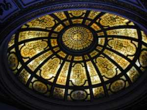 The 40-foot-diameter dome in the GAR Memorial Hall contains 50,000 pieces of glass, designed in an Italian Renaissance pattern.