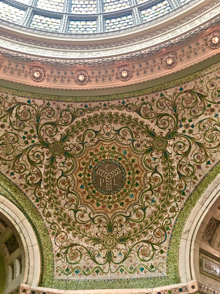 Mosaics create Italian influence in the Preston Bradley Hall (CPL stands for Chicago Public Library) The Tiffany dome is made of materials cut into fish scale shapes.