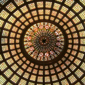 The Tiffany stained glass dome is the highlight of the third floor of the Chicago Cultural Center.