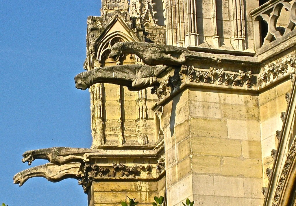 "Those gargoyles and chimera? They weren't added until a restoration 1843-1864...and were considered radical. Thanks to Victor Hugo, who wrote ""The Hunchback of Notre Dame"" in 1831 to help save the cathedral, the public supported its preservation."