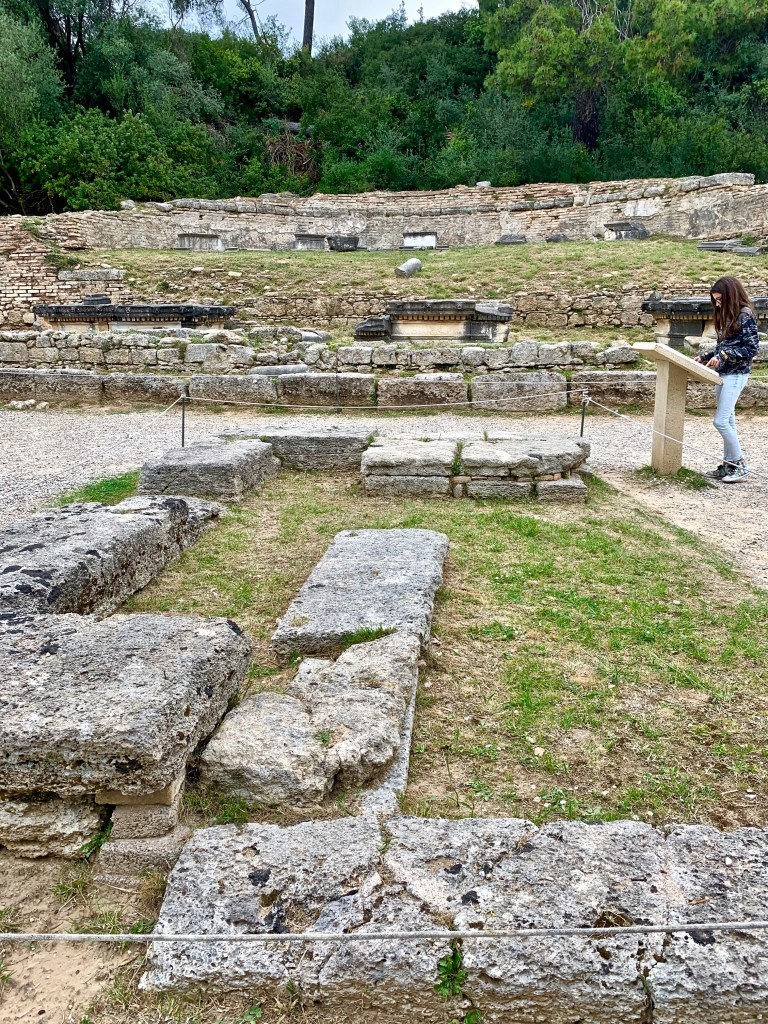 Once the altar in front of the Temple of Hera, this is the site where the Olympic flame is created every four years. the Temple of Hera (Zeus' wife) was the first building in the sanctuary.