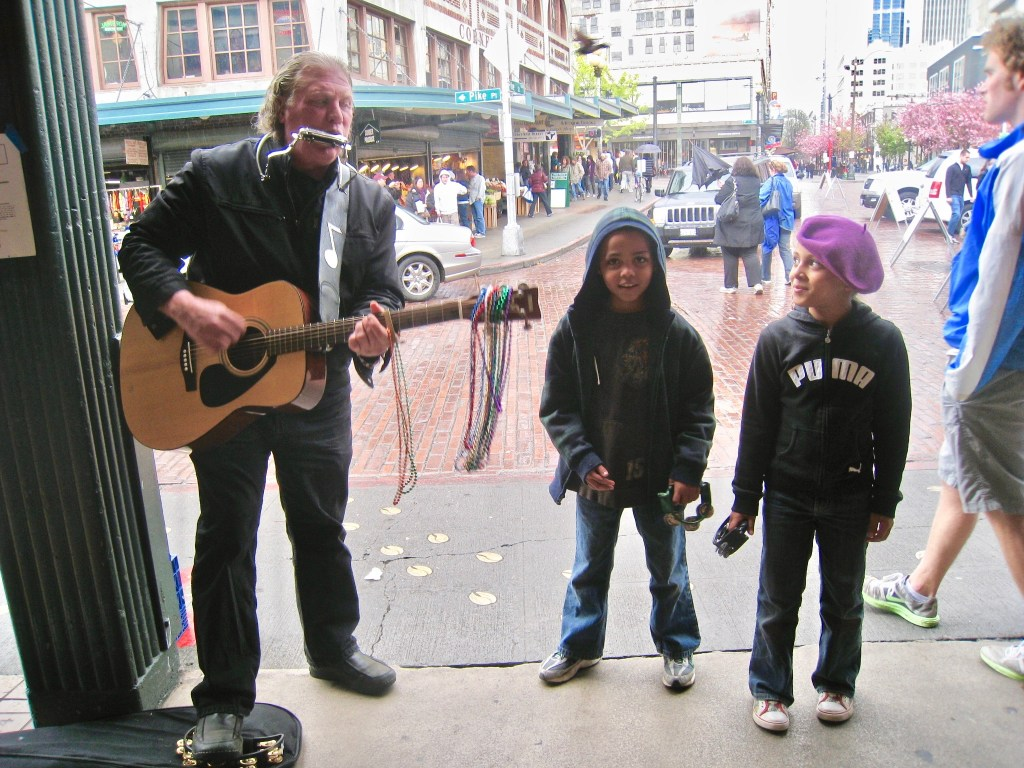 Seattle's Pike Place Market is a good introduction to local markets. The kids also learned about buskers and how to reward them for their performances.