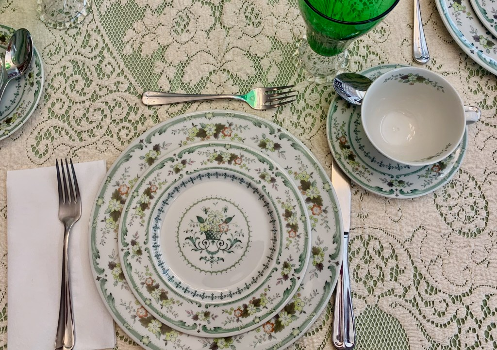 The place settings include silverware, although only the spoon to stir tea and the knife to spread clotted cream are actually used.
