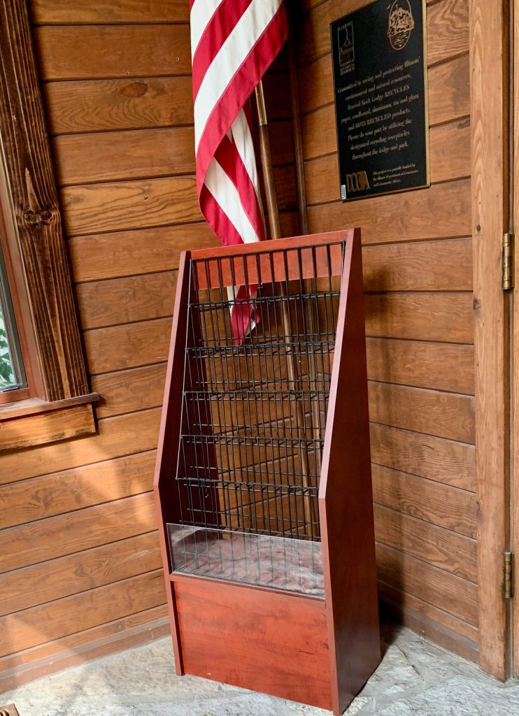 Empty brochure rack in the entry of the lodge is the first indication that things were going to be different during my post-pandemic getaway.