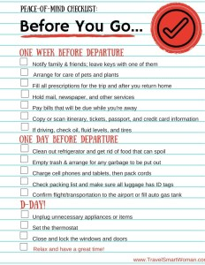 Pease-of-Mind checklist for travelers.