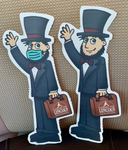 """Flat Abe"" invites you to come to Springfield...and wear your mask!"