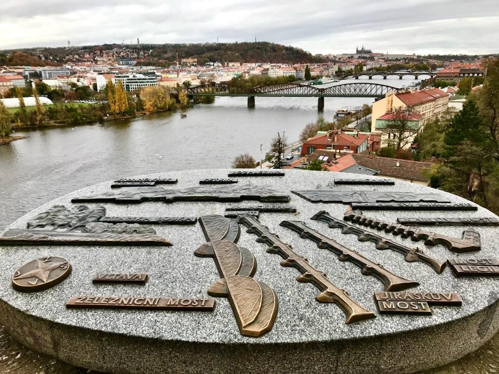 Map of Prague's bridges from Vysehrad