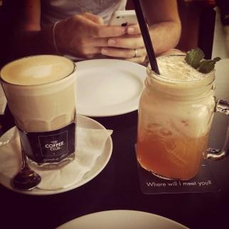 Latte and a Mango Shaken Tea