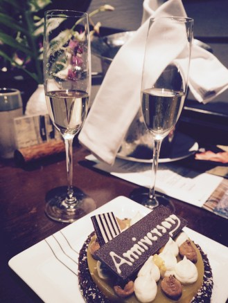 A bottle of bubbles and a cake from the hotel for our anniversary!