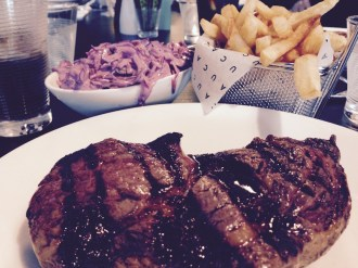 A New Years Day CAU steak, with coleslaw and chips