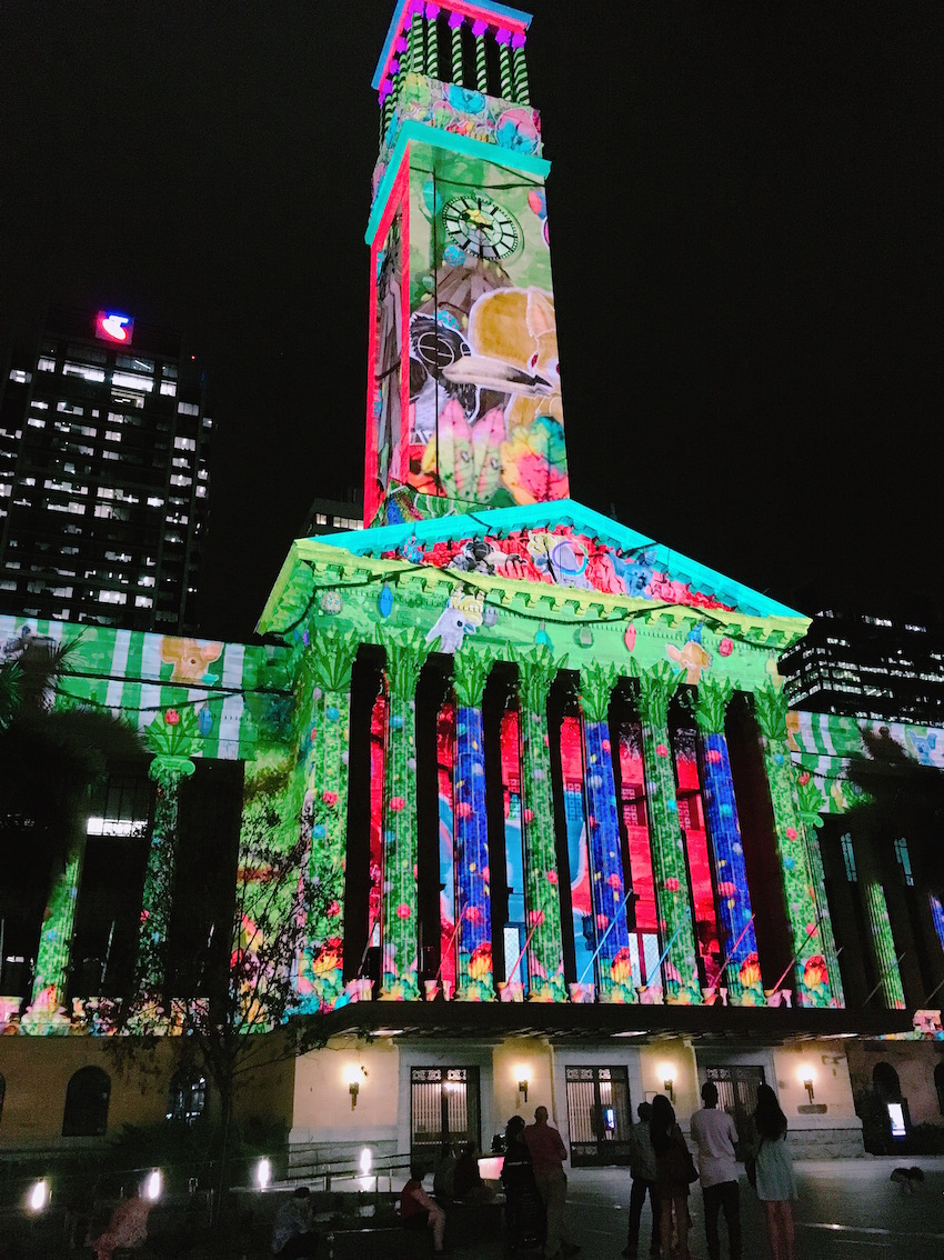 Christmas tales projected onto Town Hall