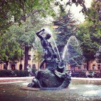 Mariatorget Stockholm square (Thor sculpture)