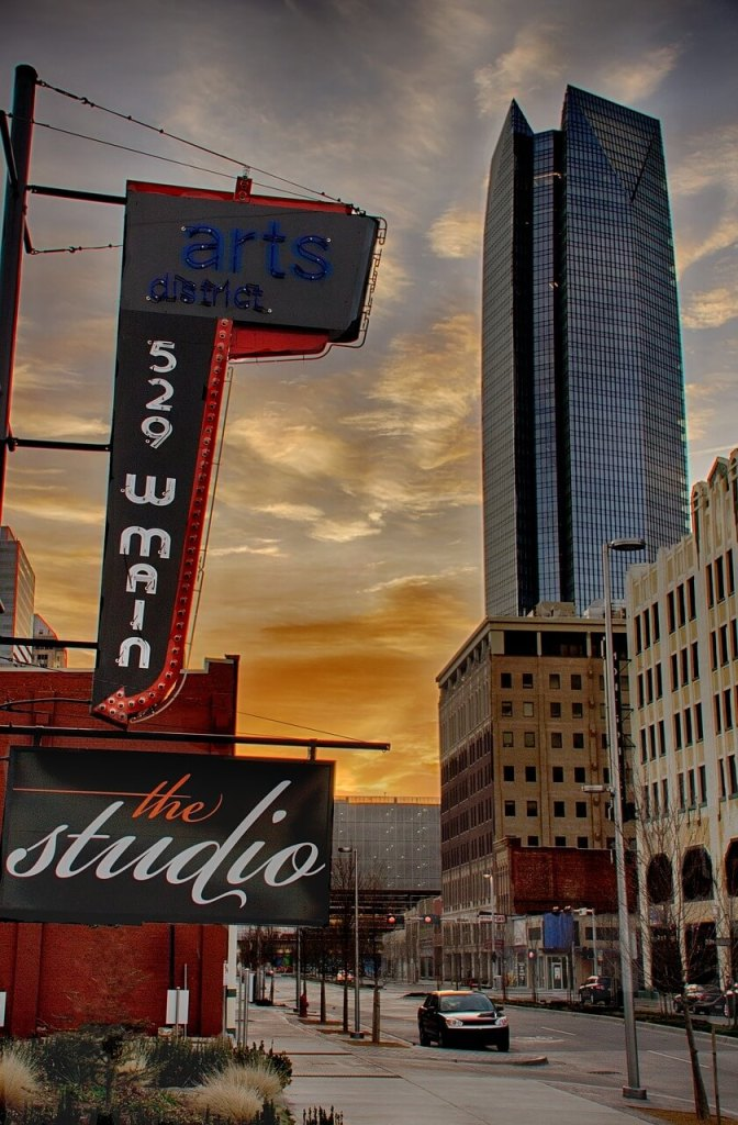 Arts District in Downtown OKC. Devon Tower in the background. Exploring OKC neighborhoods.