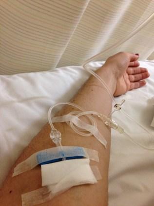 My arm! Getting pumped full o' drugs