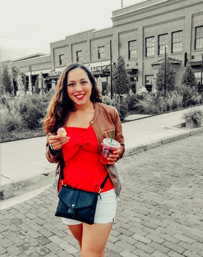 Sarah Fay enjoys the great weather outside of Armature Works in Tampa Florida.