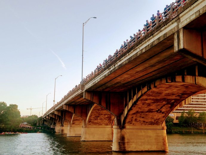 Congress Street Bridge aka Bat Bridge. People line up to wait at 8pm for the bats to leave on night hunt.