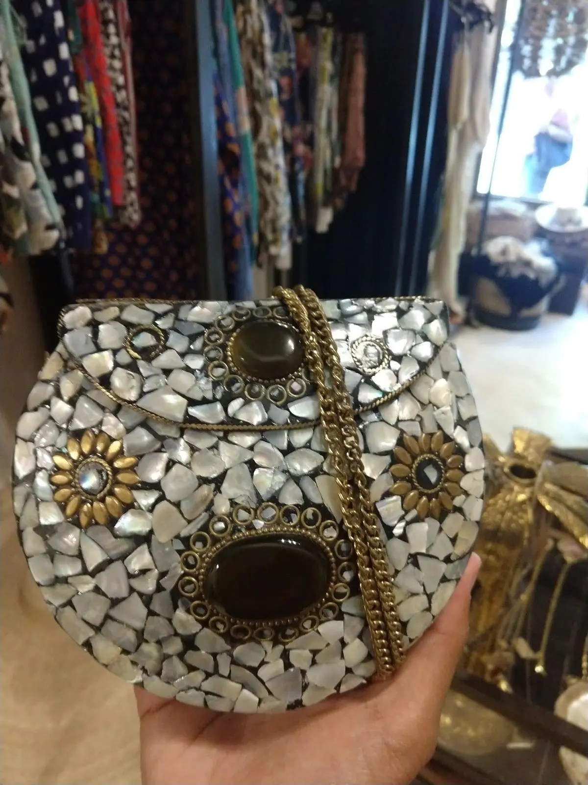Moroccan inspired purse at boutique in Tulum Mexico