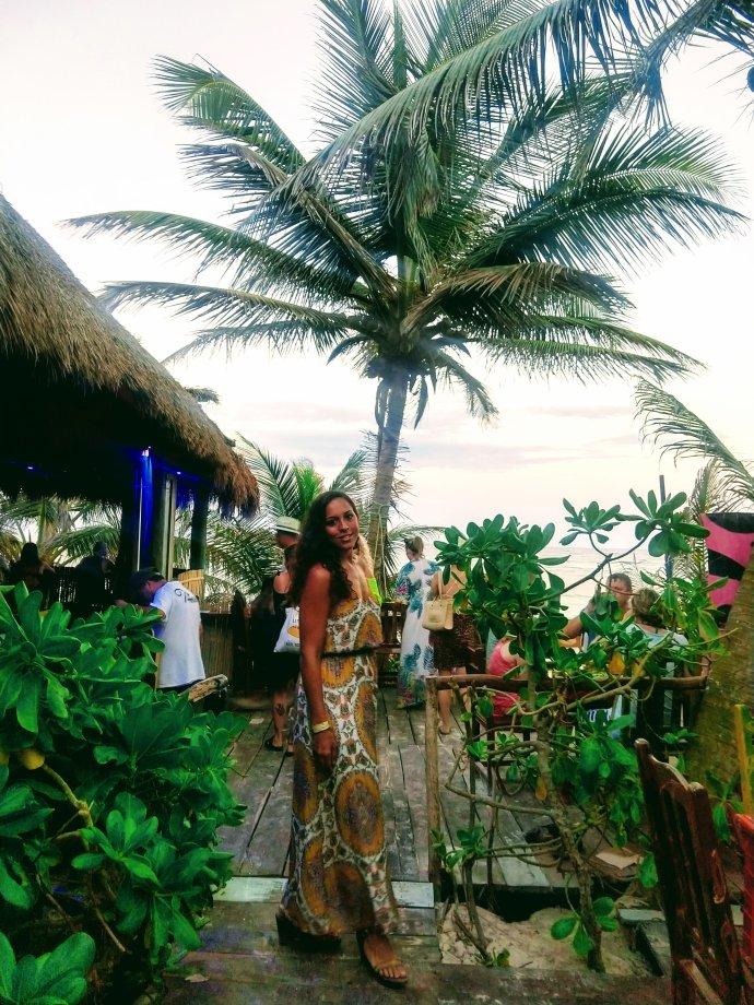 Sarah Fay on the beach at the Taqueria La Eufemia beach club.