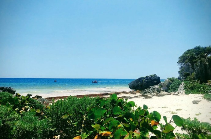 Tulum beach in Mexico on a sunny day