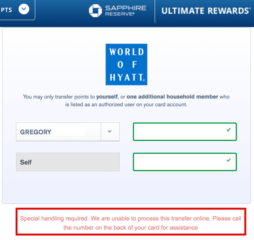 Special Handling Required Error For Ultimate Rewards Transfers