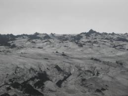 100 Nearby volcano Hekla smolders ash all over the glacier