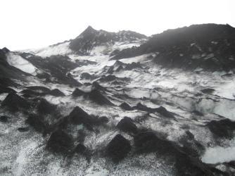volcanic ash on the glacier